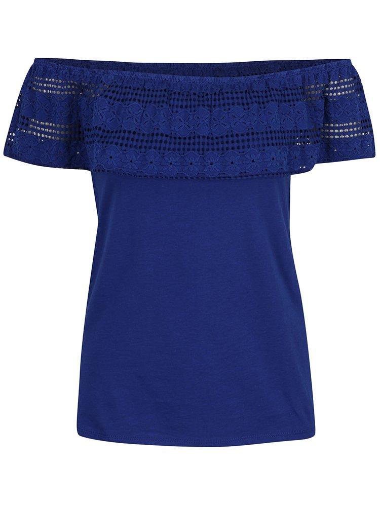 Tmavě modré tričko s odhalenými rameny a krajkou Dorothy Perkins