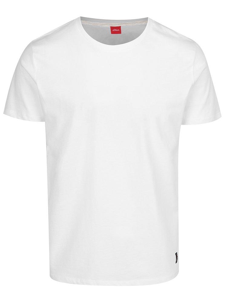 Tricou alb basic din bumbac s.Oliver pentru bărbați