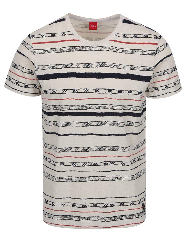 Modro-krémové pánské vzorované triko s.Oliver