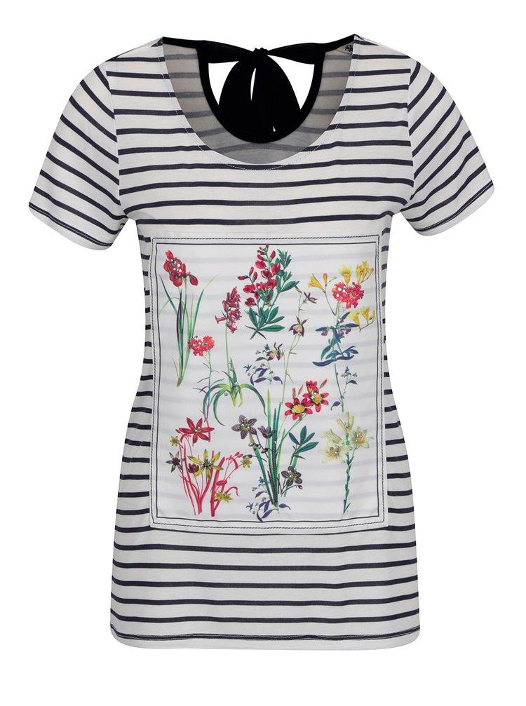 Krémové pruhované tričko s květovaným potiskem a mašlí na zádech M&Co