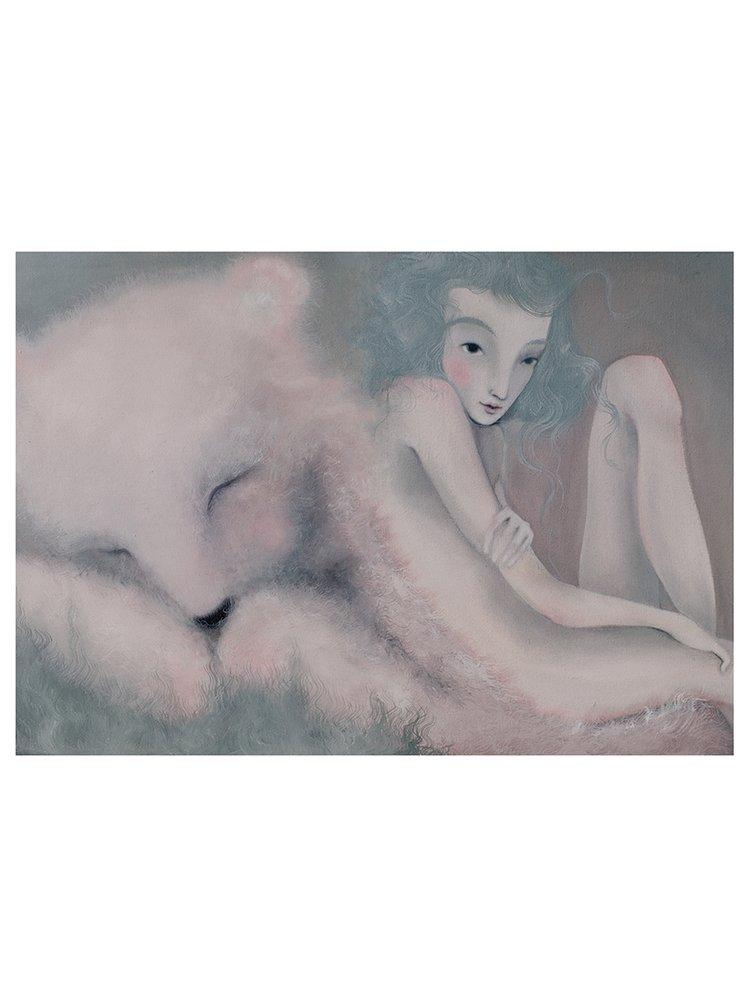Šedo-krémový autorský plakát Sen o medvědovi od Lény Brauner, 50 x 70 cm
