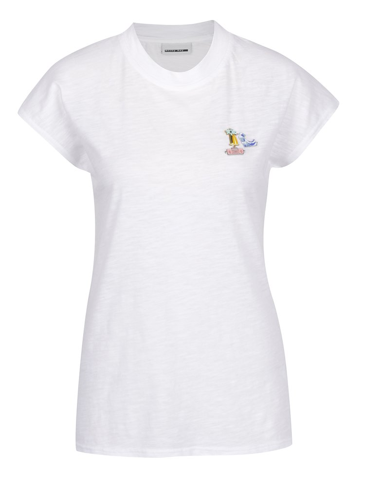 Tricou alb Noisy May Pins cu aplicații metalice decorative