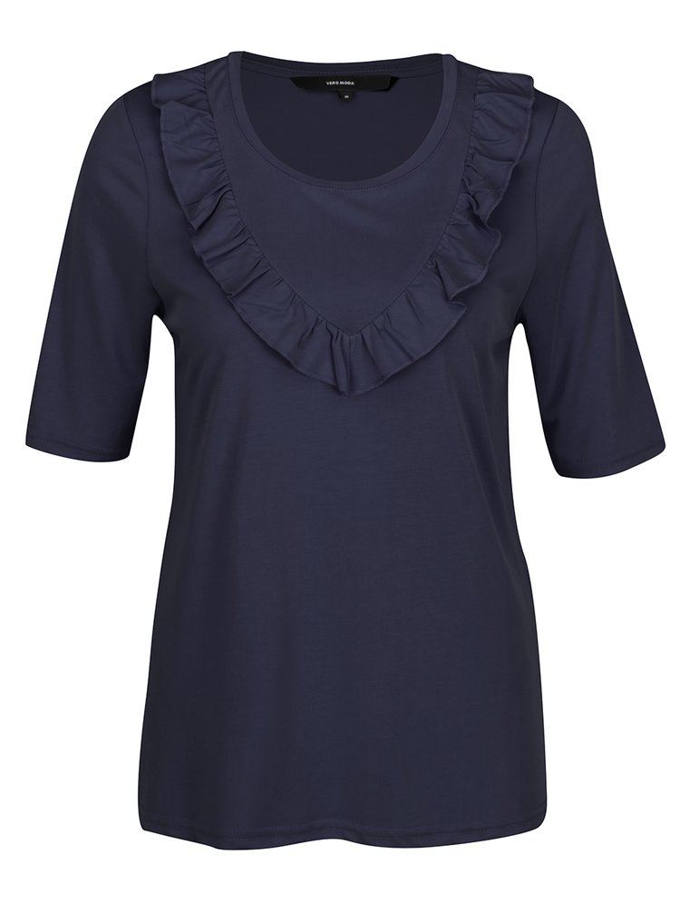 Tmavě modré tričko s volány VERO MODA Maria