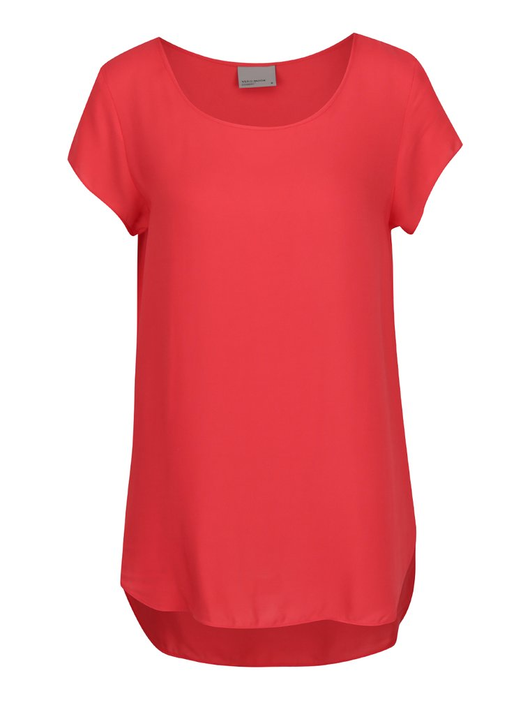 Tricou roșu corai din material vaporos VERO MODA Boca