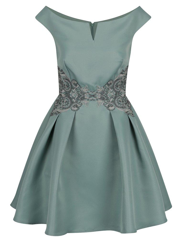 Světle zelené šaty s lodičkovým výstřihem a krajkovým zdobením Little Mistress