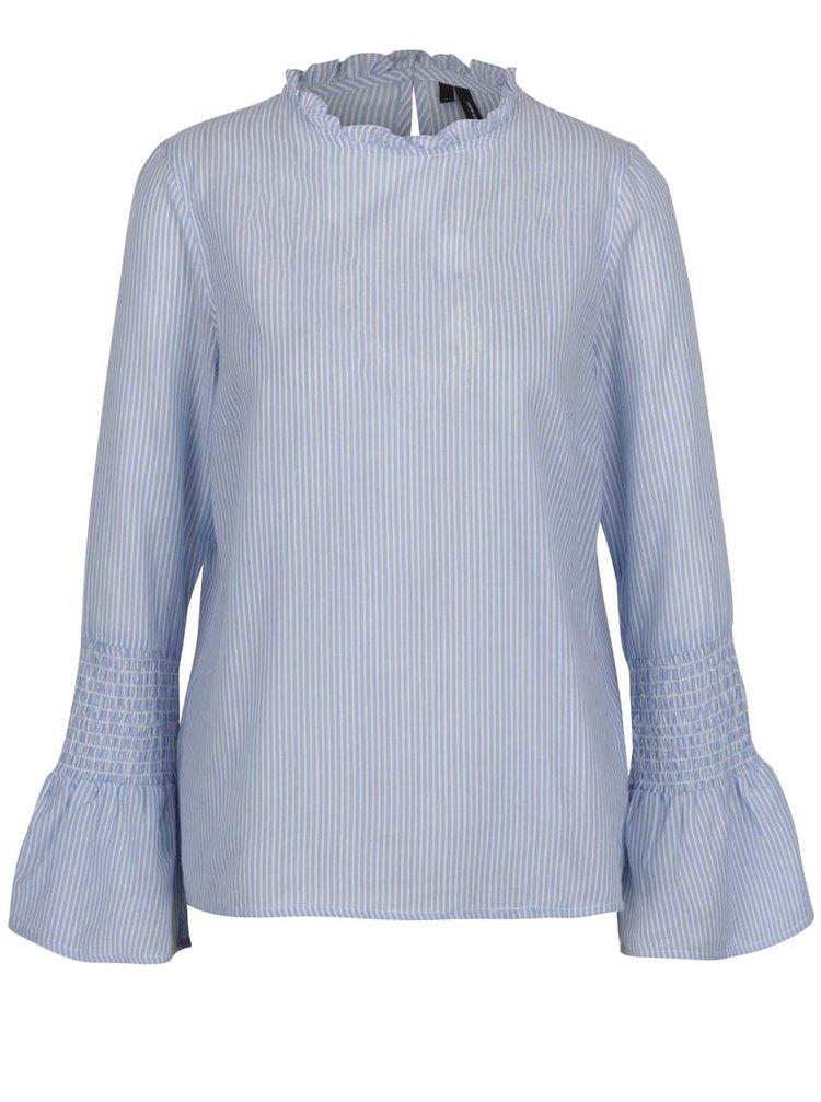 Bluză albastră cu dungi și mâneci lungi VERO MODA Isabell
