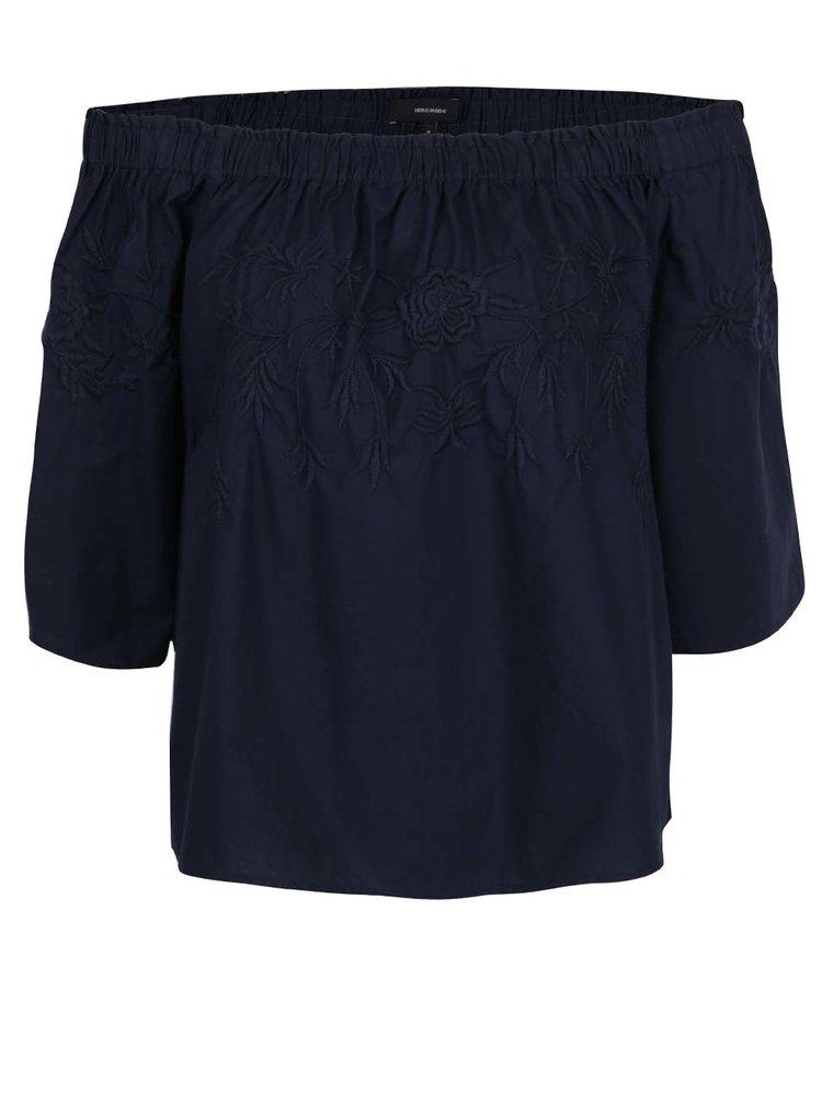Tmavě modrý oversize top s odhalenými rameny VERO MODA Bella