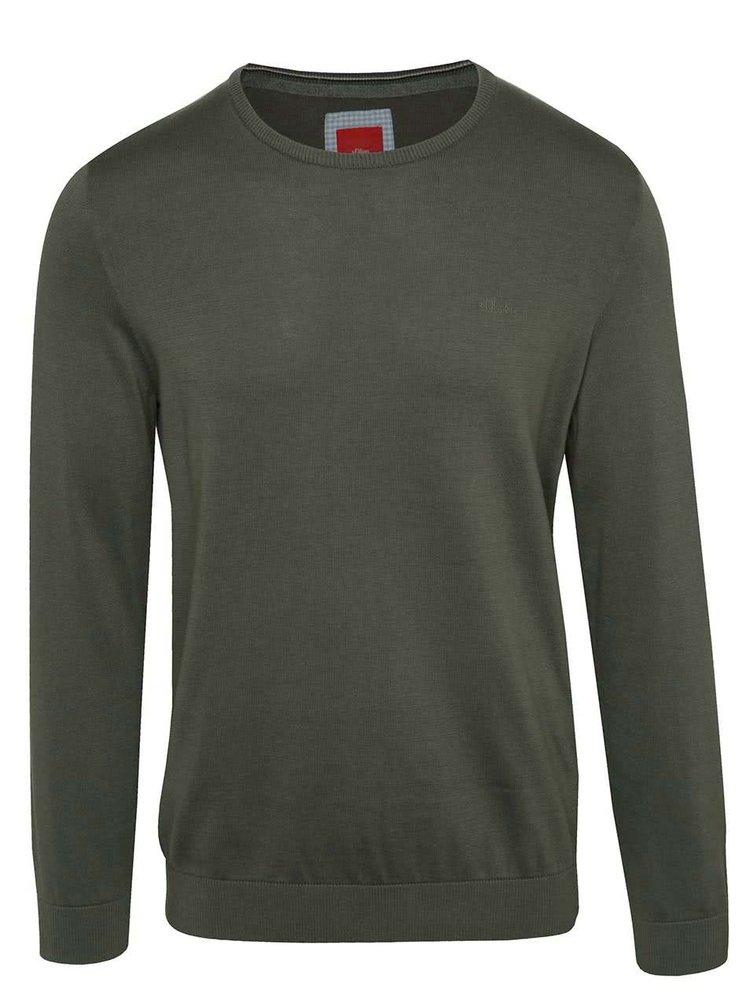 Tmavě zelený pánský svetr s.Oliver