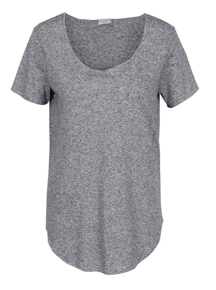 Tmavě šedé volné žíhané tričko s příměsí lnu Jacqueline de Yong