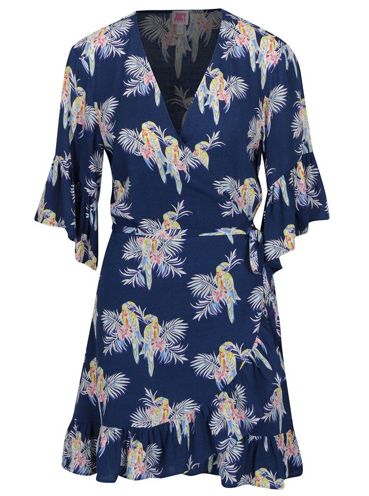Tmavě modré zavinovací šaty s motivem papoušků Juicy Couture