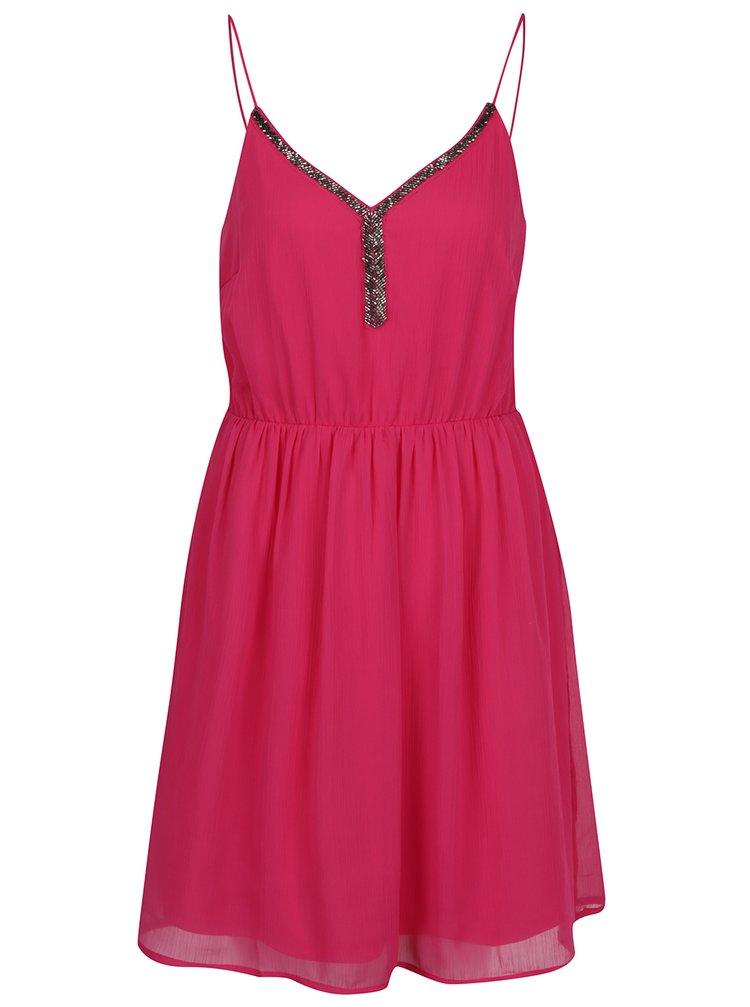 Tmavě růžové šaty na tenká ramínka VERO MODA Lupe Bead