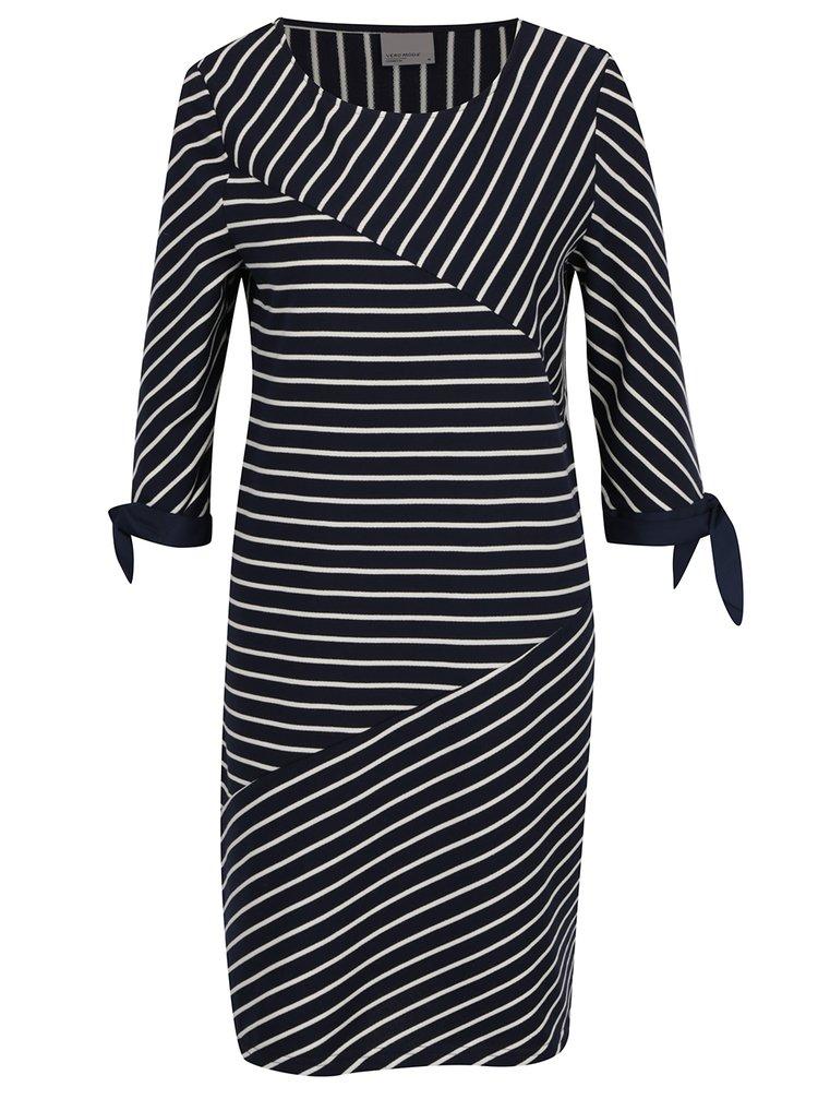 Tmavě modré pruhované šaty s 3/4 rukávem VERO MODA Doris