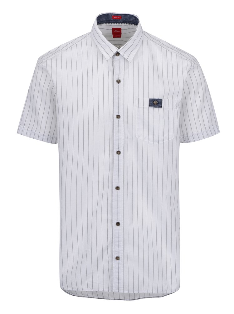 Bílá pánská pruhovaná košile s příměsí lnu s.Oliver