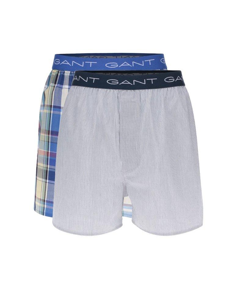 Sada dvou trenýrek v modré a krémové barvě GANT