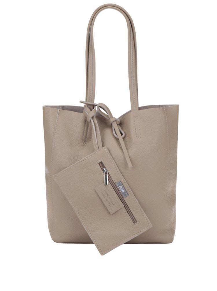 Geanta bej shopper din piele naturala - ZOOT Simple