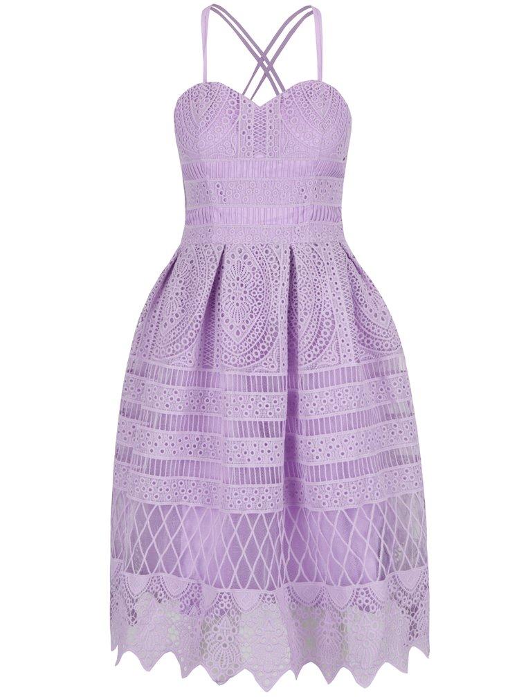 Fialové krajkové šaty Chi Chi London