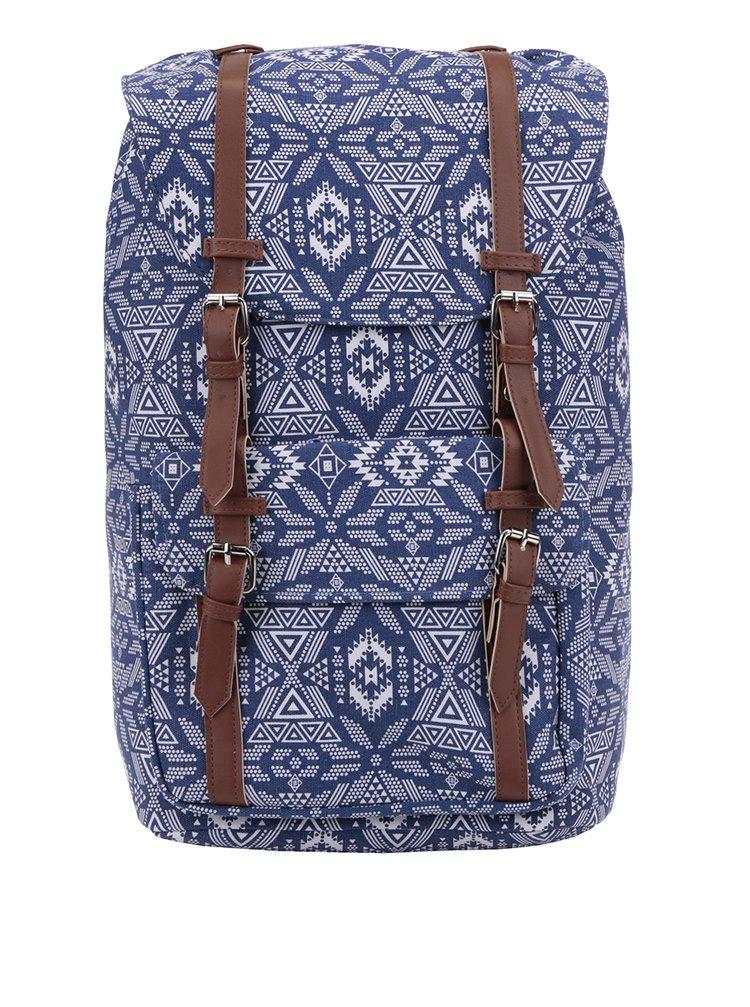 Bílo-modrý dámský vzorovaný plátěný batoh s hnědými popruhy ZOOT