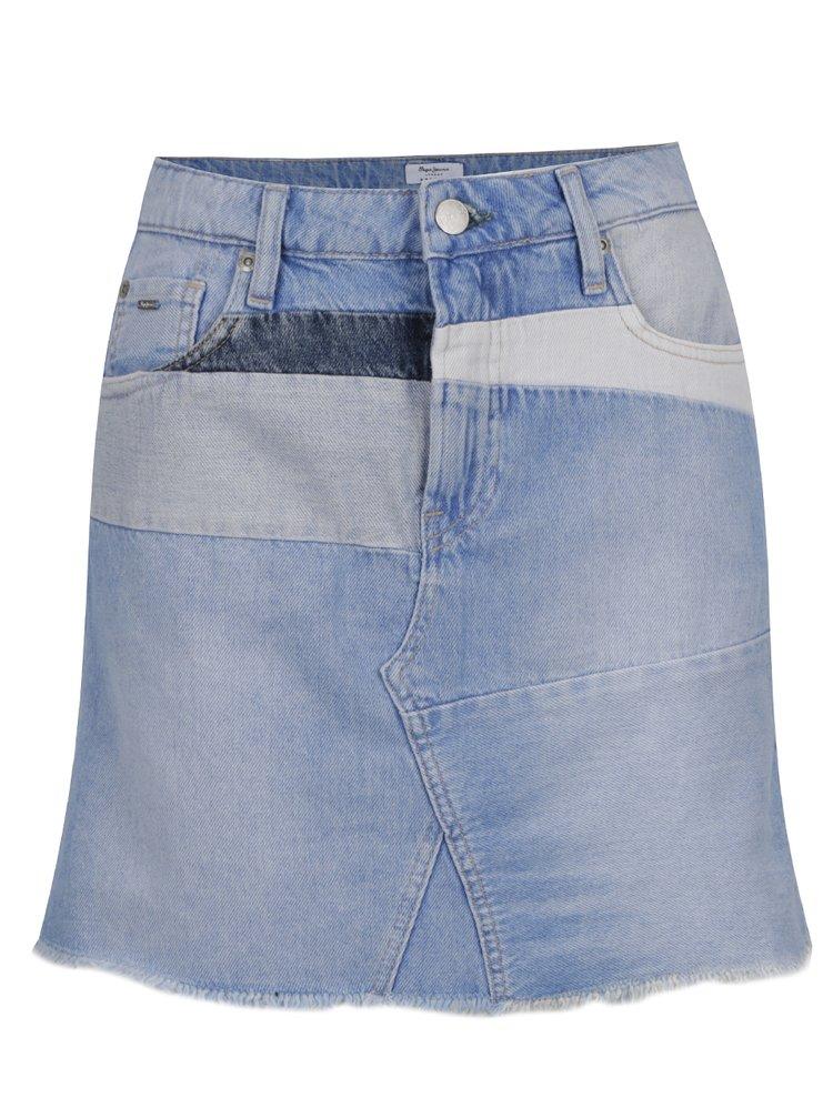 Světle modrá džínová regular fit minisukně Pepe Jeans Layercake Skirt