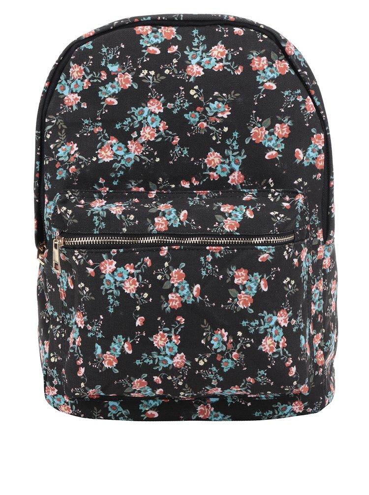 Černý dámský květovaný plátěný batoh ZOOT