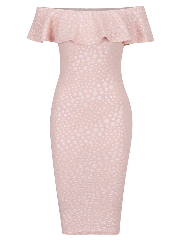 Světle růžové vzorované strečové šaty s volánem AX Paris