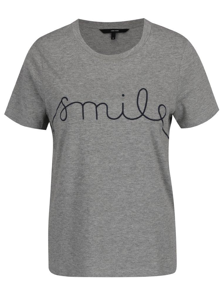 Šedé tričko s vyšitým nápisem VERO MODA Ann