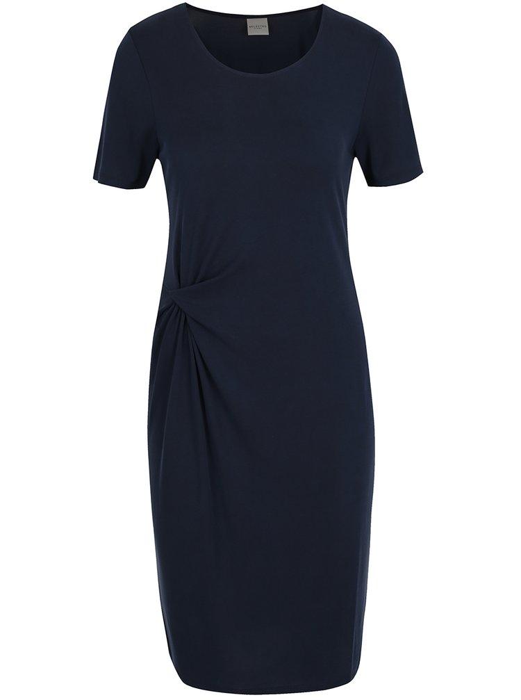 Tmavě modré šaty s nařasením Selected Femme Vivi