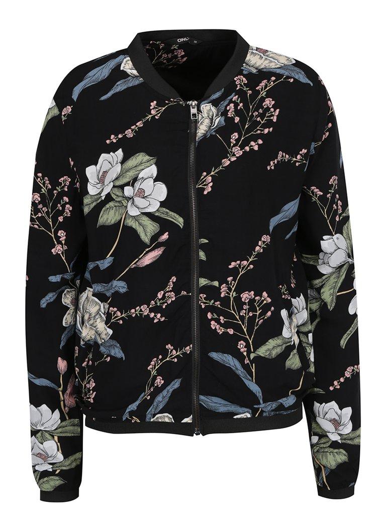 Jacheta bomber neagra cu imprimeu floral multicolor ONLY Nova