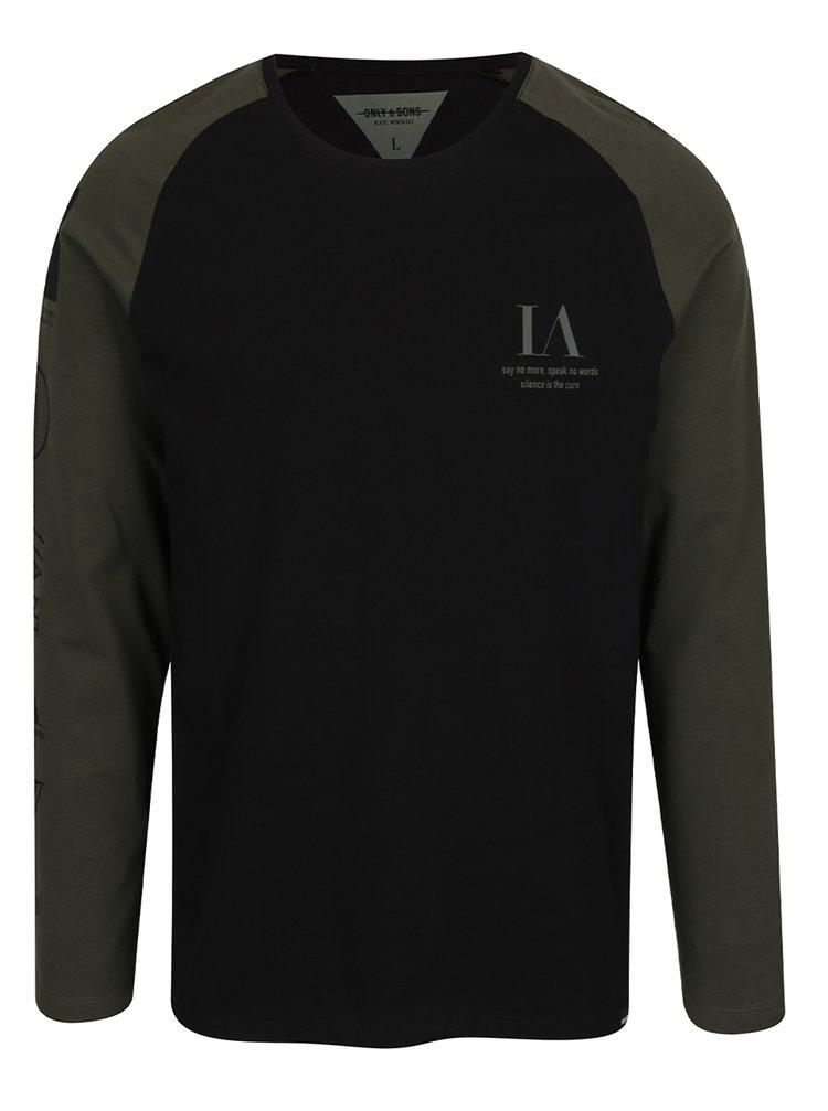 Bluza neagra cu maneci verzi Only & Sons Lance