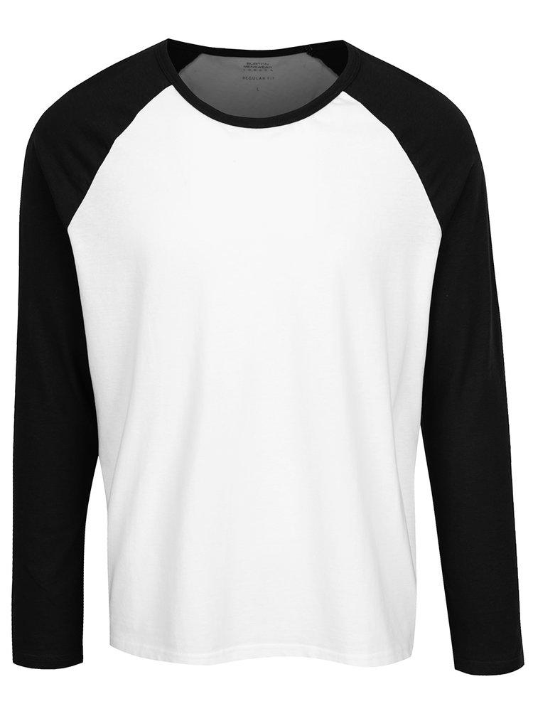 Černo-bílé triko s dlouhým rukávem Burton Menswear London