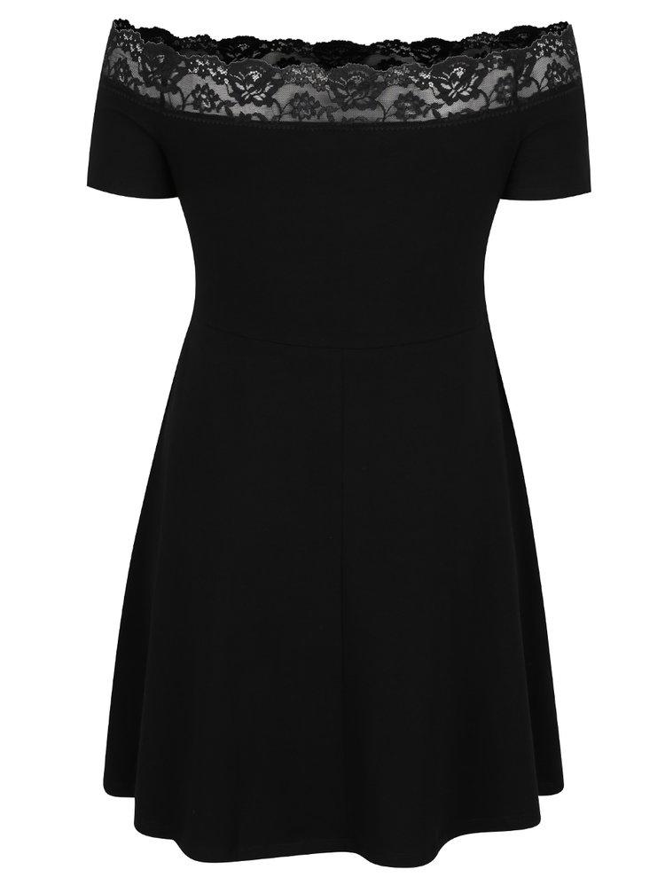 Černé šaty s krajkovými detaily Dorothy Perkins Curve