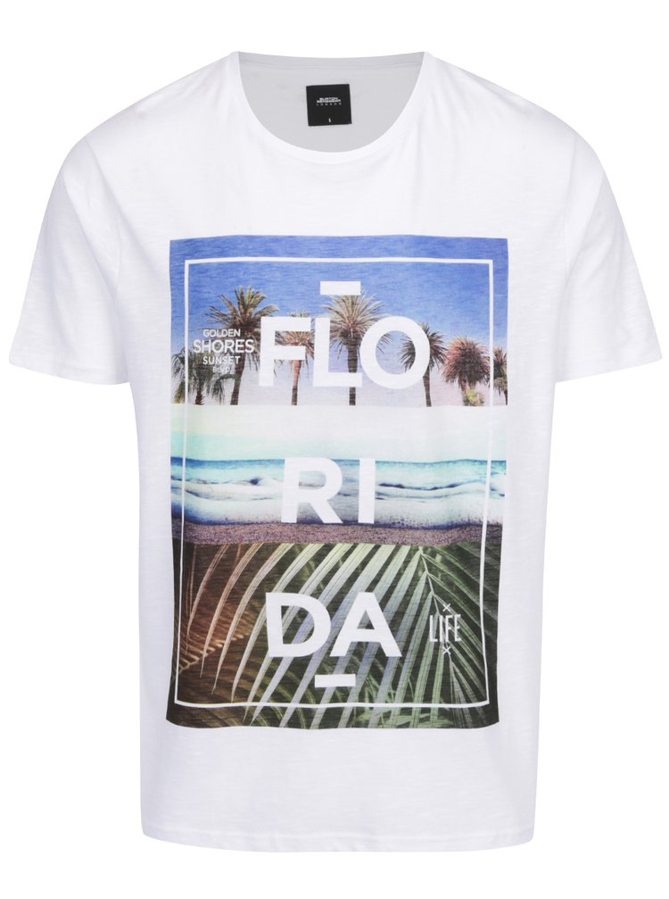 Tricou alb print Florida Burton Menswear London