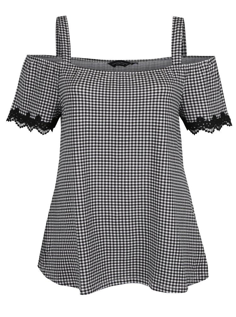 Bluză pepit cu decolteu pe umeri Dorothy Perkins Curve