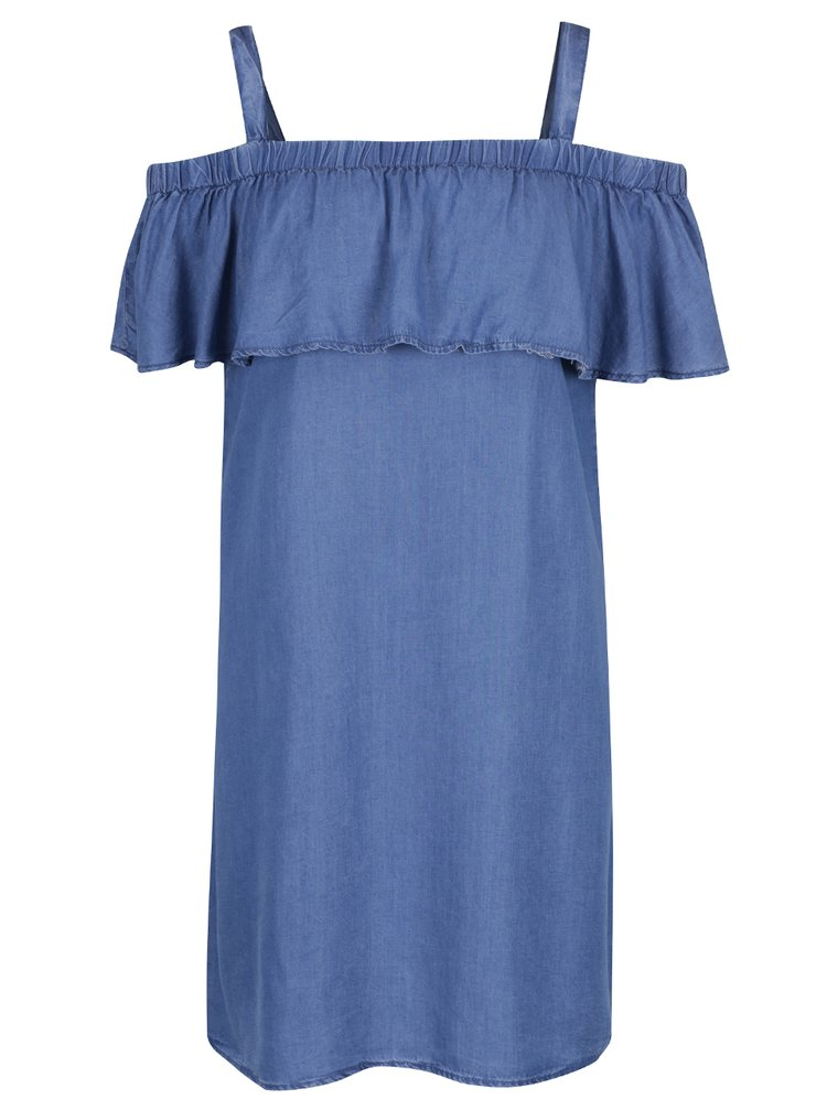 Modré džínové šaty s odhalenými rameny a volánem Dorothy Perkins