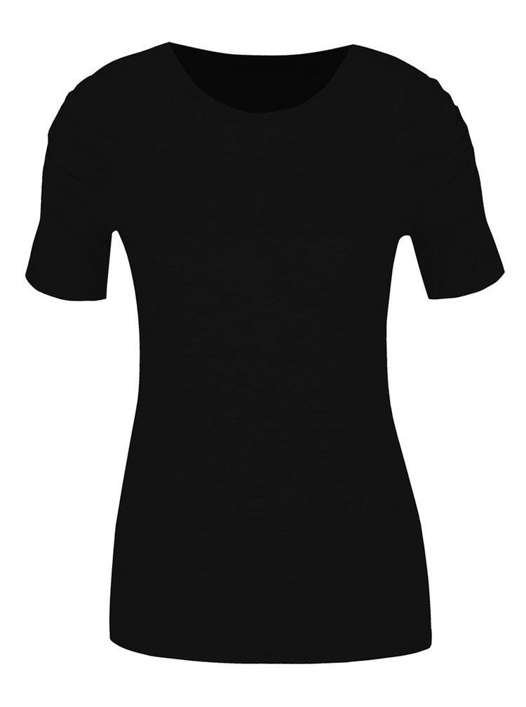 Černé tričko s řasením na rukávech Dorothy Perkins