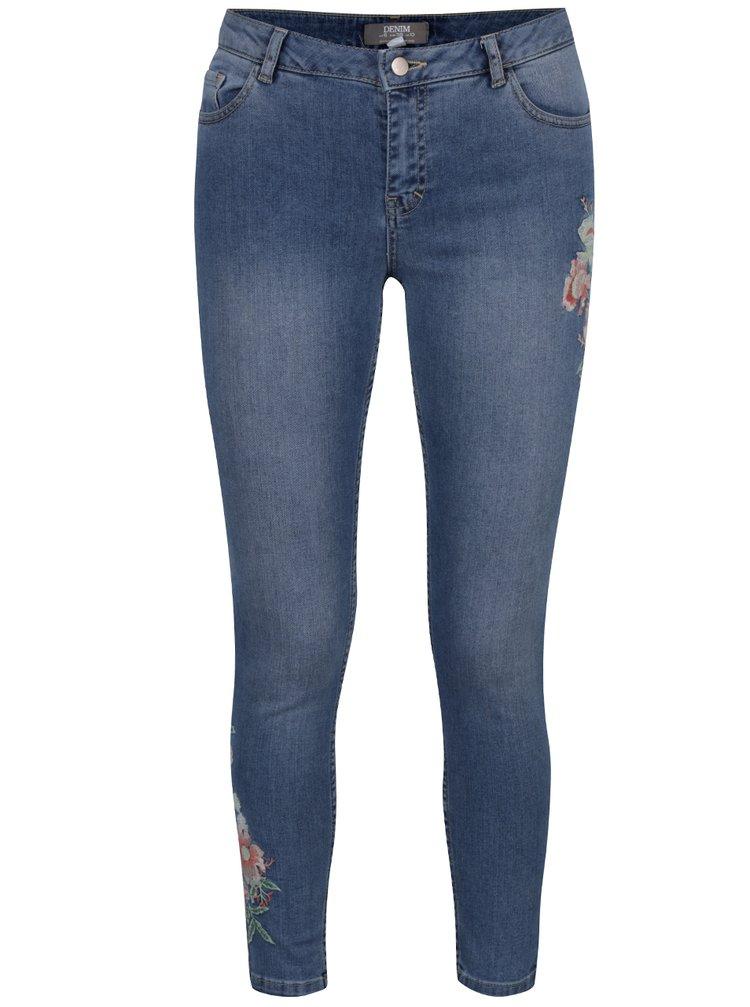 Modré zkrácené slim džíny s výšivkou Dorothy Perkins