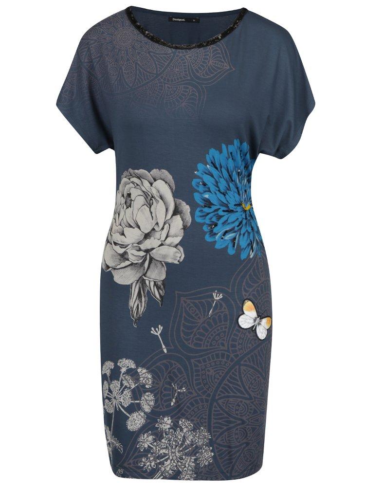 Šedo-modré šaty s potiskem květin a s flitry Desigual Ginger