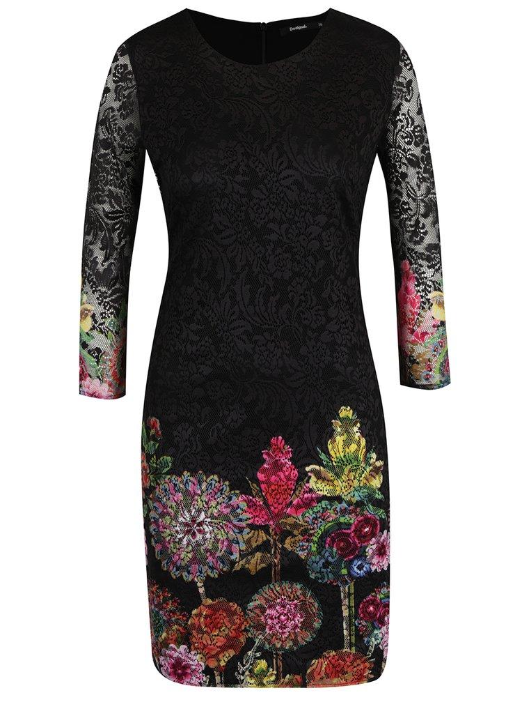 Černé krajkové květované šaty Desigual Chipi