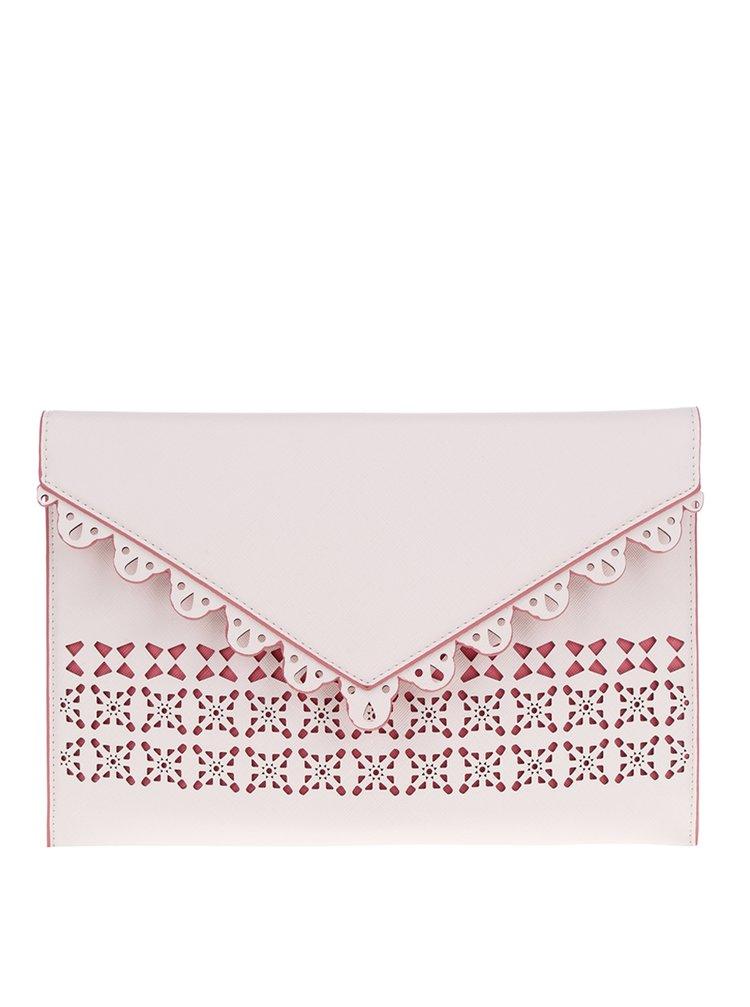 Geantă plic roz cu crem cu perforații  Dorothy Perkins