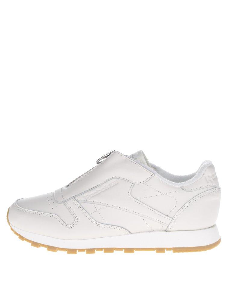Pantofi sport crem din piele cu fermoar Reebok pentru femei