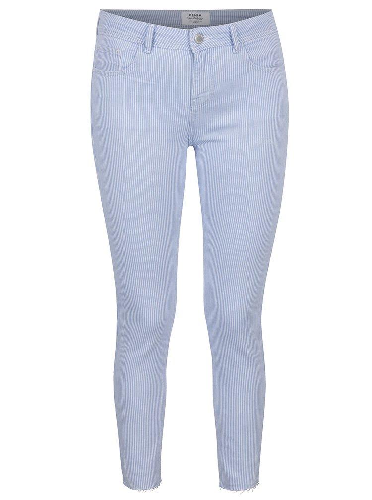 Světle modré pruhované zkrácené džíny Miss Selfridge
