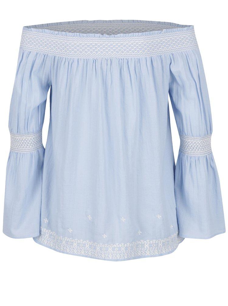 Bluză bleu cu decolteu pe umeri Miss Selfridge