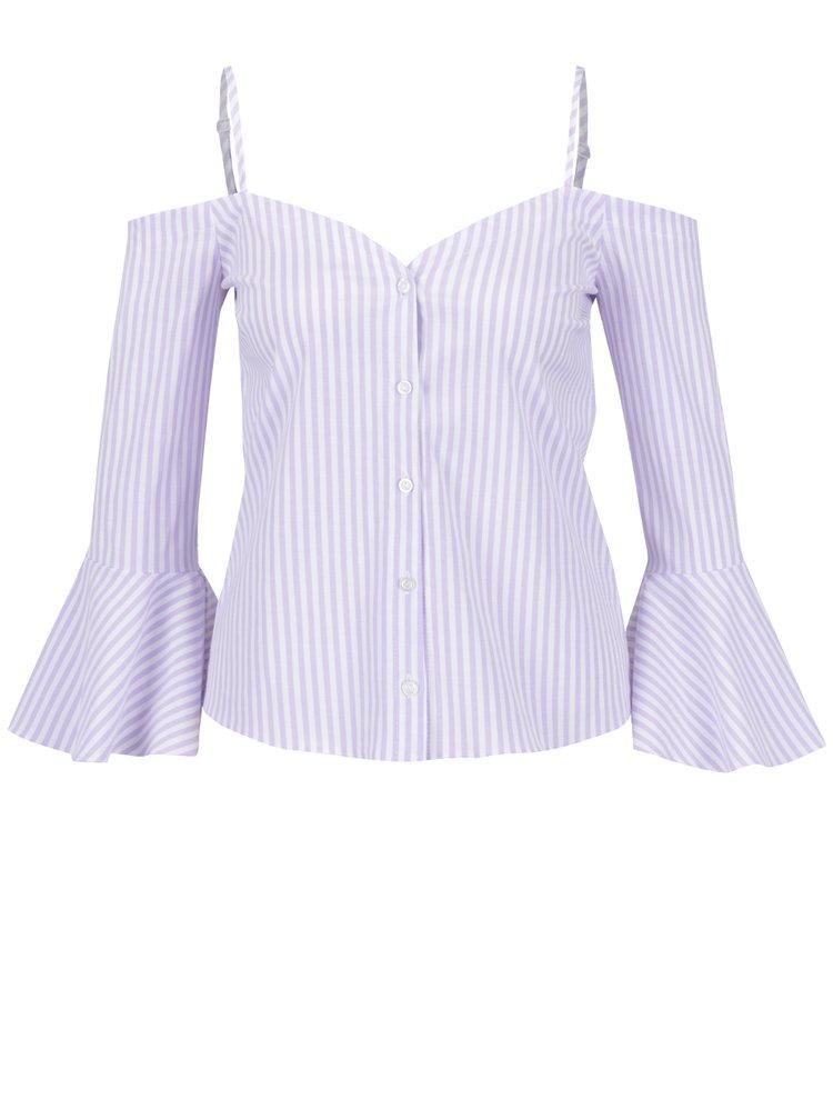 Bluză cu decolteu pe umeri și dungi mov cu bej Miss Selfridge