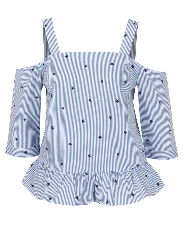 Bluză în dungi cu print stele și decolteu pe umeri Miss Selfridge Petites