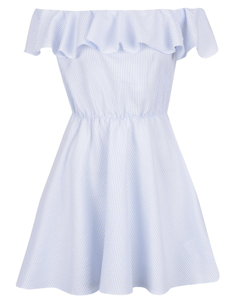 Rochie cu dungi alb cu bleu și decolteu pe umeri