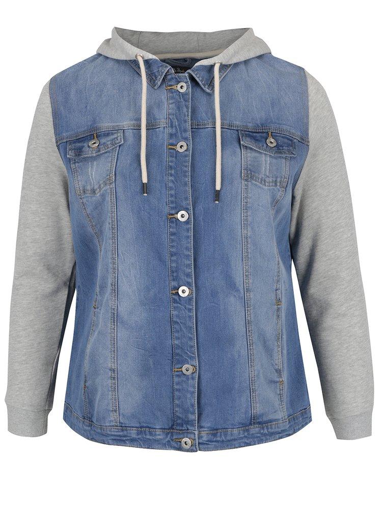 Modrá džínová bunda s mikinovými rukávy a kapucí Ulla Popken