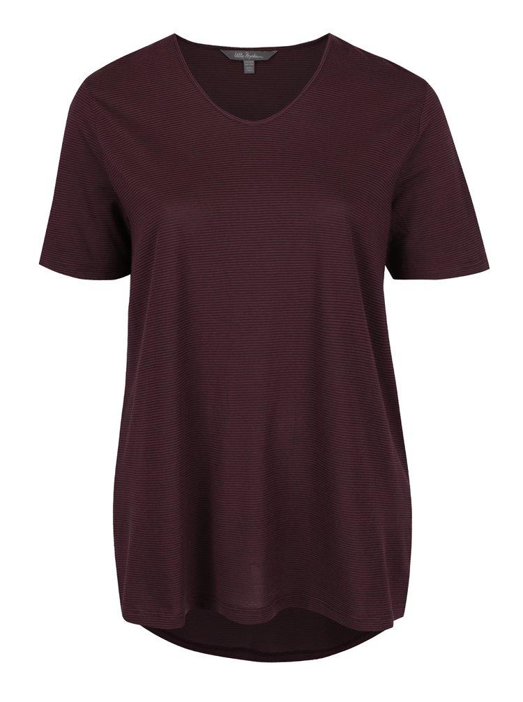 Vínové pruhované tričko Ulla Popken