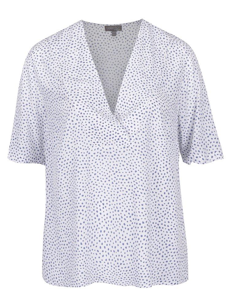 Bluză alb & albastru Ulla Popken decolteu în V