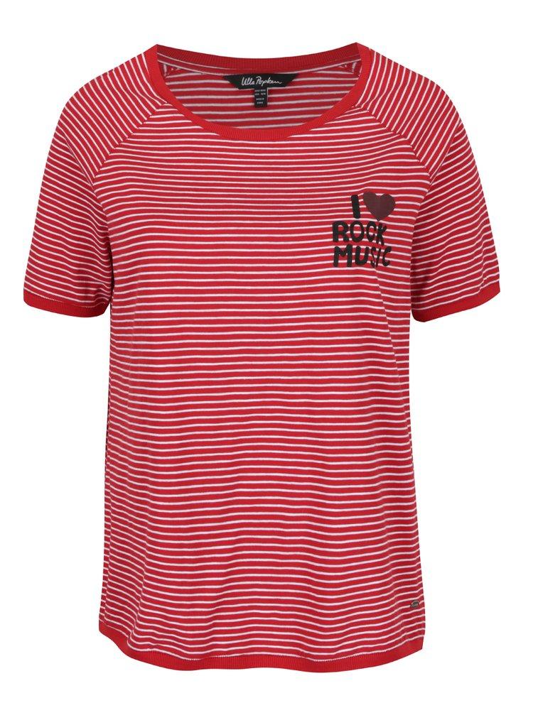 Tricou roșu & alb Ulla Popken  imprimeu în dungi