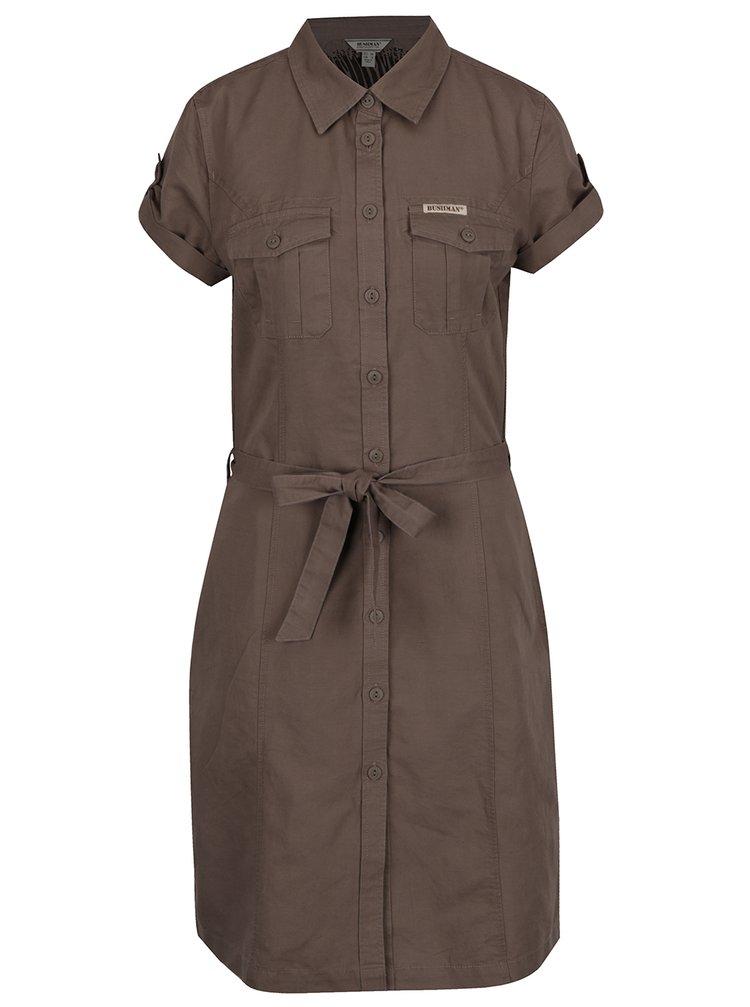 Hnědé dámské lněné košilové šaty BUSHMAN Montana