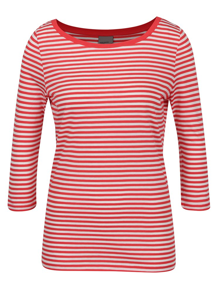 Bluză roșu & crem VERO MODA Marley imprimeu dungi